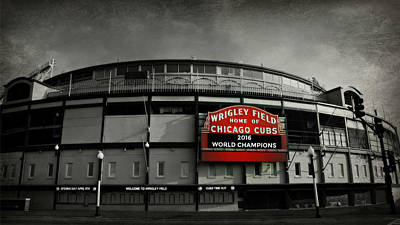 Red Photograph - Wrigley Field by Stephen Stookey