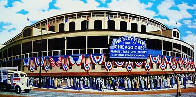 Chicago Cubs Field Painting - Wrigley Field by T Kolendera
