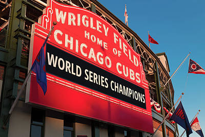Chicago Cubs Wall Art - Photograph - Wrigley Field World Series Marquee Angle by Steve Gadomski