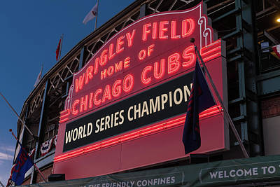 Wrigley Field World Series Marquee Art Print by Steve Gadomski