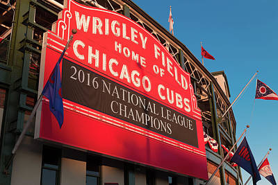 Baseball Royalty-Free and Rights-Managed Images - Wrigley Field Marquee Angle by Steve Gadomski
