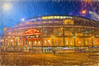 Wrigley Field Painting - Wrigley Glows At Night by John Farr