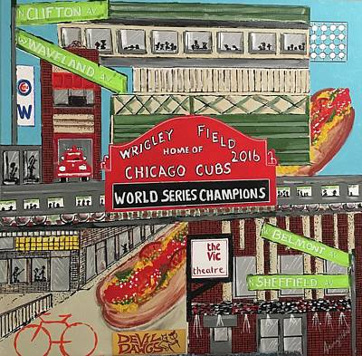 Painting - Wrigleyville Devil Dawgs - Sold by George Riney