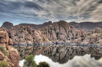 Watson Lake Reflections Photograph - Wrinkled Reflections by Donna Kennedy