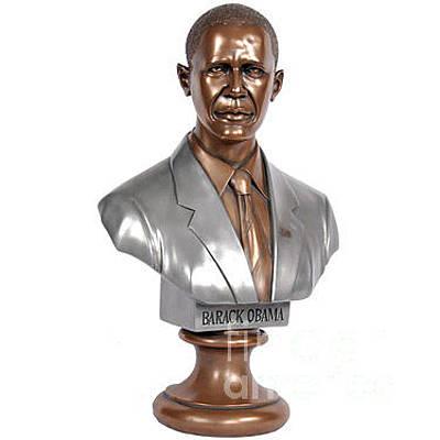 Joe Biden Wall Art - Sculpture - Obama Bronze Bust by Dothlyn Morris Sterling