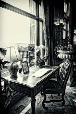 Photograph - Writing Desk Bw Series 0808 by Carlos Diaz