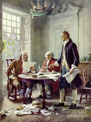 Benjamin Franklin Mixed Media - Writing The Declaration Of Independance by Jean Leon Ferris
