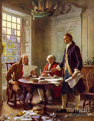 Benjamin Franklin Painting - Writing The Declaration Of Independence, 1776, by Leon Gerome Ferris