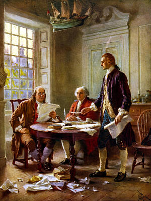 Benjamin Franklin Painting - Writing The Declaration Of Independence by War Is Hell Store