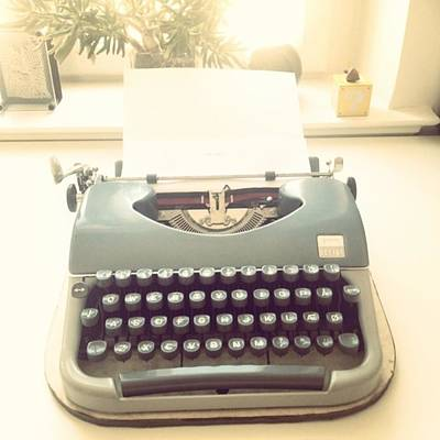 Typewriter Photograph - Writing. 💗#typewriter #retro #pastel by Line Amalie Risum Johansen
