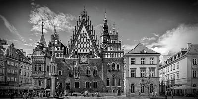 Tenement Photograph - Wroclaw Main Market Square And Town Hall - Panorama Monochrome by Melanie Viola