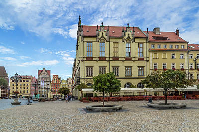 Wroclaw Market Square, New Town Hall And Tenement Houses Print by Melanie Viola