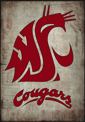 Washington State Digital Art - W S U Cougars by Daniel Hagerman