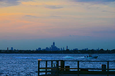 Wtc Over Jamaica Bay From Rockaway Point Pier Art Print