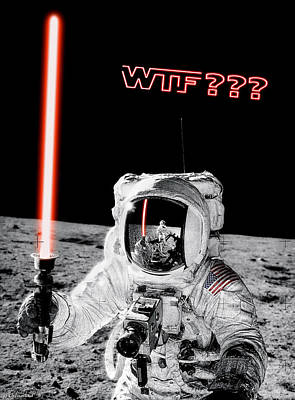 Photograph - Wtf? Alan Bean Finds Lightsaber On The Moon by Weston Westmoreland
