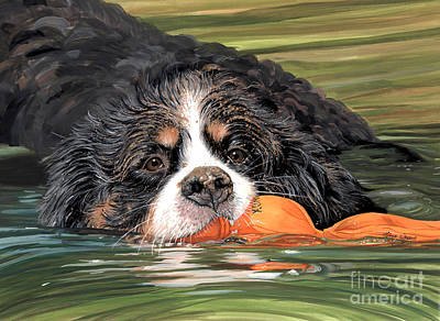 Dog And Toy Painting - Wuba' Good Swimmer by Liane Weyers
