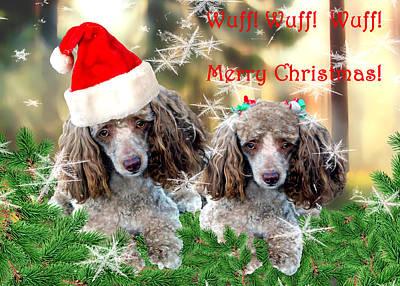 Pup Digital Art - Wuff-wuff-wuff-merry Christmas by Sabrina K Wheeler