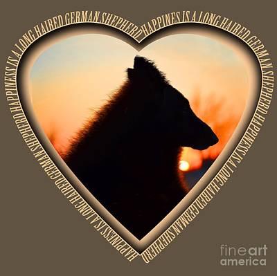 Wuffstar Happiness Is A Long Haired German Shepherd Heart Art Print