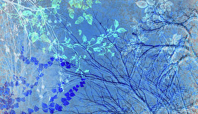 Digital Art - Wuthering Heights Bright Blues by Nancy Lorene