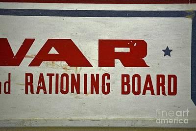 Ww 2 War Ration Board Sign Art Print by JW Hanley