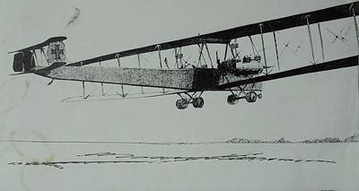 Drawing - Ww1 Bomber by Mike Jeffries