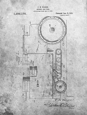 Veterans Drawing - Ww1 Tank Patent by Dan Sproul