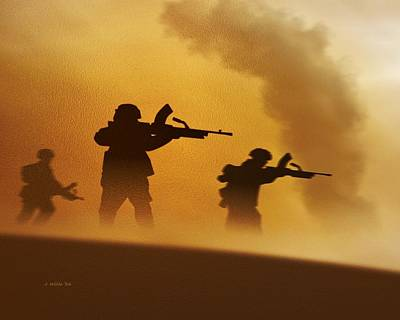 Digital Art - Ww2 British Soldiers On The Attack by John Wills