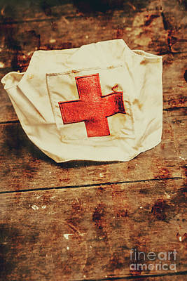 Fabric Photograph - Ww2 Nurse Hat. Army Medical Corps by Jorgo Photography - Wall Art Gallery