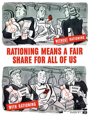 Conservation Painting - Ww2 Rationing Cartoon by War Is Hell Store