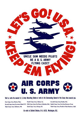 United States Mixed Media - Us Army Air Corps - Ww2 by War Is Hell Store