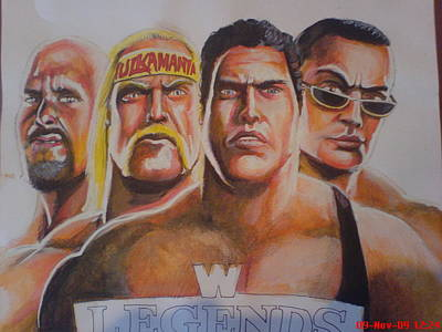Muslims Of The World Drawing - Wwe Legends by Sandeep Kumar Sahota