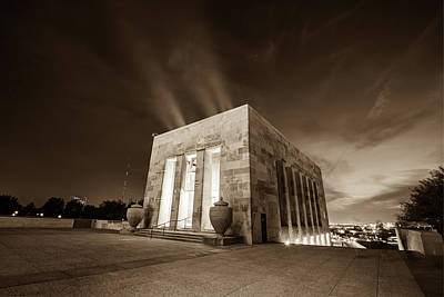 Photograph - Wwi Memorial - Kansas City Missouri In Sepia by Gregory Ballos