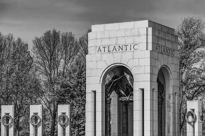 Photograph - Wwii Atlantic Memorial Bw by Susan Candelario