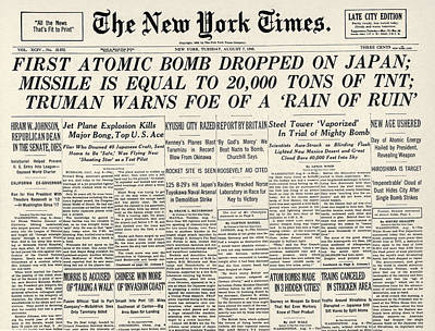 Photograph - Wwii: Hiroshima Front Page by Granger