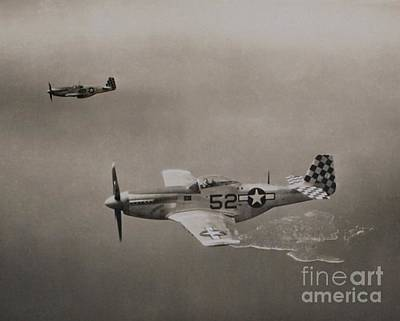 Wwii P-51d Mustang Fighters Shimmy Iv Art Print by Lou Varro