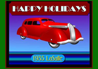 Art Print featuring the digital art Wyandotte Lasalle Happy Holidays by Stuart Swartz