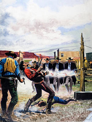 Wyatt Earp Painting - Wyatt Earp And The Battle Of The Ok Corral by English School