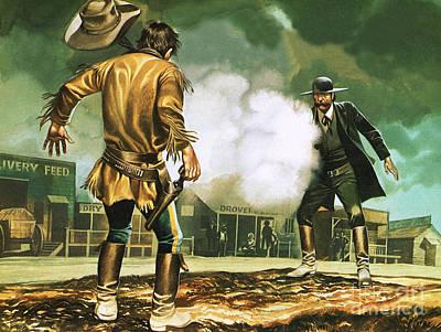 Wyatt Earp At Work In Dodge City Art Print by Ron Embleton