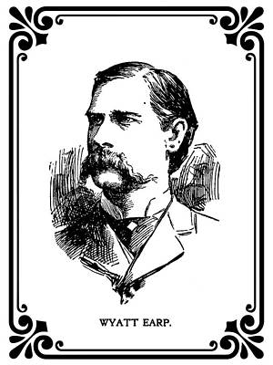 Wyatt Earp Newspaper Portrait  1896 Art Print