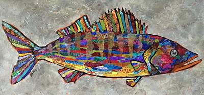 Painting - Wylie The Walleye by Phiddy Webb