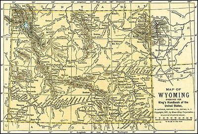 Photograph - Wyoming Antique Map 1891 by Phil Cardamone