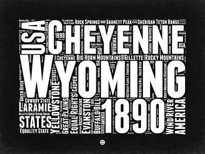 Wyoming Black And White Word Cloud Map Art Print