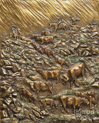 Sculpture - Wyoming Cattle Drive by Dawn Senior-Trask