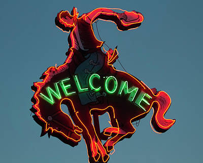 Photograph - Wyoming Cowboy Vintage Neon Sign by Gigi Ebert