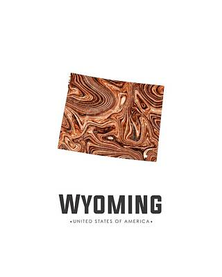 Mixed Media - Wyoming Map Art Abstract In Brown by Studio Grafiikka