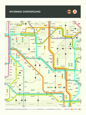 London Tube Digital Art - Wyoming Map by Jazzberry Blue