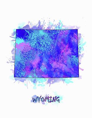 Wyoming Map Digital Art - Wyoming Map Watercolor 2 by Bekim Art