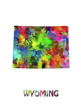 Wyoming Map Digital Art - Wyoming Map Watercolor by Bekim Art