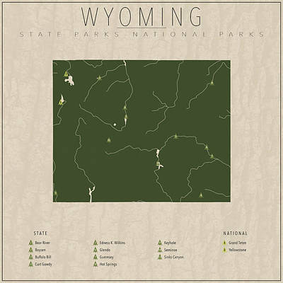 Yellowstone Digital Art - Wyoming Parks by Finlay McNevin