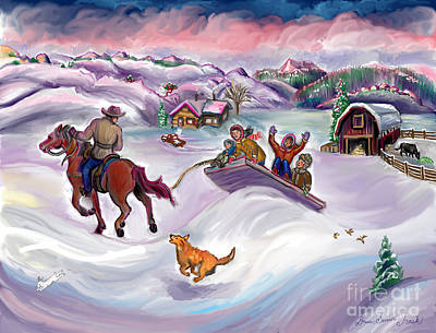 Digital Art - Wyoming Ranch Fun In The Snow by Dawn Senior-Trask